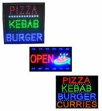 LED Open Pizza Kebab Burger Curries Takeaway Cafe Fast Food Window Shop Sign