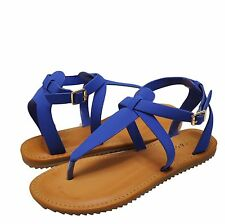 Women's Shoes Bamboo Hearten 41S Strappy T-Strap Lug Sole Sandal Sapphire *New*