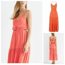 Oasis Coral Orange Belted Tiered Summer Beach Boho Maxi Dress Size 8 10 12 14 16