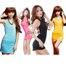 Sexy Halter Plunge Open Back Mini Club Dress Babydoll Sleep Dress for Women
