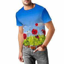 Red Poppies Field Mens Cotton Blend T-Shirt XS - 3XL Sublimation All-Over-Print