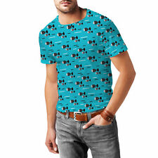 Fish Waves Mens Cotton Blend T-Shirt XS-3XL All-Over-Print