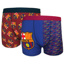 FC Barcelona Official Football Gift 2 PAIR Pack Mens Crest Boxer Shorts