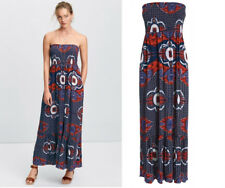 Next Multi-Print Bandeau Maxi Summer Dress Blue Orange White Sz 8 10 12 14 16 18