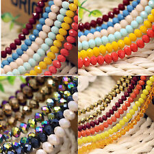 Be Wholesale Rondelle Faceted Crystal Glass Loose Spacer Beads Finding 6/8/10mm
