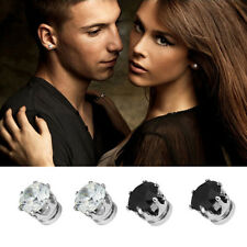 Exquisite Hot Mens Women Clear/Black Crystal Magnet Earrings Stud Jewelry