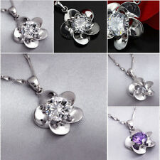 Flower Jewelry Cute Pendant Crystal Chain Stylish Necklace Silver Plated t