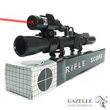 4X20 Tactical Hunting Air Rifle Optics Scope + Red Dot Laser Sight + Rail Mount
