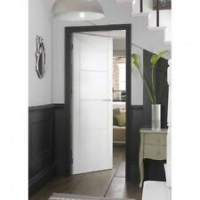 White Internal Moulded Door Wood Smooth Home Decor 4 Panel Ladder Room Interior