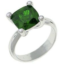Rhodium Plated Cocktail Ring Princess Cut Emerald Green Cubic Zirconia Size 8 9