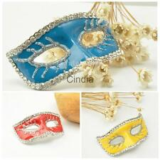 Women Lady Rhinestone Crystal Wedding Bridal Mask Brooch Pins Halloween