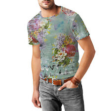 Grunged Florals on Green Mens Cotton Blend T-Shirt XS - 3XL Sublimation All-Over