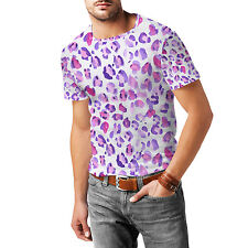 Purple Leopard Print Mens Cotton Blend T-Shirt XS-3XL All-Over-Print