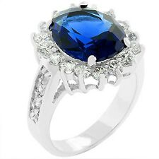 Silver Rhodium Plated Sapphire Cocktail Ring Blue Cubic Zirconia Royal Wedding