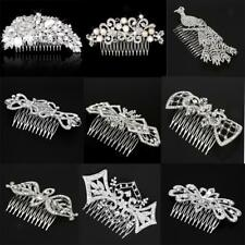 Vintage Crystal Rhinestone Flower Wedding Party Bridal Hair Comb Clip Jewelry