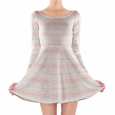 Lace on Pink Longsleeve Skater Dress XS-3XL All-Over-Print