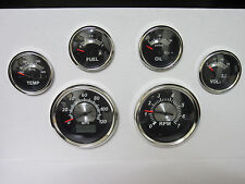 6 Gauge GPS Black. Instrument,Muscle Car,Hot Rod,GM,Truck,Ford,Dodge,&Plymouth