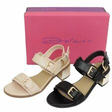 LADIES DOLCIS BLACK OR NUDE LOW HEEL ANKLE PEEP-TOE SANDALS PARTY SHOES SIZE 3-8