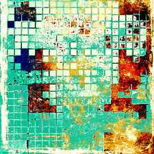 Framed Canvas Art Print Abstract Mosaic Tiles Texture Aqua Square Large Artwork