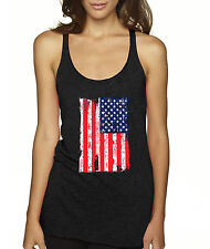 New Way 363 - Women's Tank-Top American Flag Distressed America USA