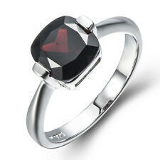 3.1CT Natural Black Garnet Solid Sterling Silver 925 Solitaire Ring size 6 7 8 9