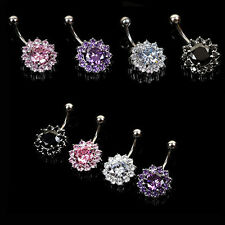 Flower Steel Zircon Crystal Navel Belly Ring Button Bar Body Piercing Jewelry MI
