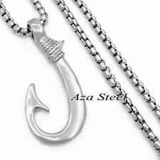 FISHHOOK Fish Hook Design Solid 316L Stainless Steel Pendant Chain Necklace set