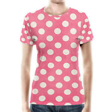 Polka Dots on Hot Pink Women Cotton Blend T-Shirt XS - 3XL Sublimation All-Over-