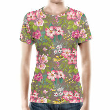 Tropical Vintage Florals Women Cotton Blend T-Shirt XS-3XL All-Over-Print