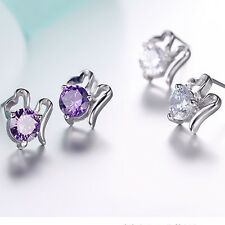 Elegant Fashion Women Lady Girls 925 Sterling Silver Crystal Ear Stud Earrings