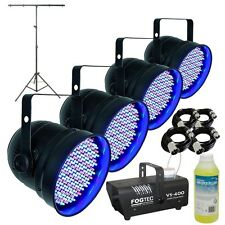 4x Showtec LED PAR 56 DMX DJ Disco Party Par Cans With T-Bar & Smoke Machine