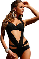 Black Plicate Halter Monokini Swimsuit One-Piece Swimwear Bikini Sexy Women lady