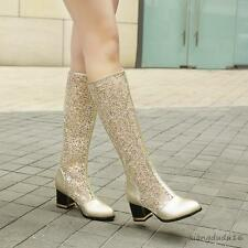 Summer Women's lace hollow out high knee Boots block heel Pumps Sandals Shoes