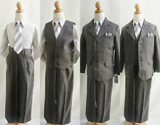 Gorgeous Boy Charcoal/Dark grey formal suit 5 pc set wedding party all sizes