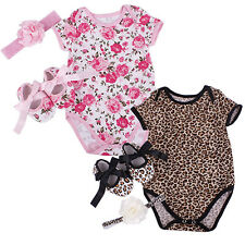 3 Pcs Newborn Retro Floral Leopard Star Romper Bodysuit Headband Shoes Set