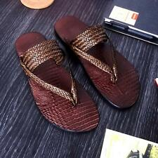 Vintage men's leather woven flat  summer flip flops beach sandal slipper
