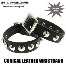 Wholesale Job Lot Leather Bracelet Black Conical Studded Wristband Made In UK