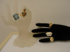 vintage costume jewelry rings dome cocktail rectangular blue step style & buckle