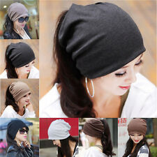 Women Unisex Baggy Beanie Xmas Knit Crochet Ski Hat Cap scarf hair band 43