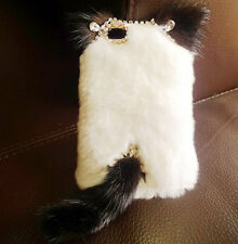For Various Mobile Phones Bling Crystals Gem Luxury Fluffy Fur Cat Ear Tail Case