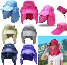 Outdoor Face Neck Sun Hat Detachable Flap Cap For Fishing Hiking Mosquito Nylon