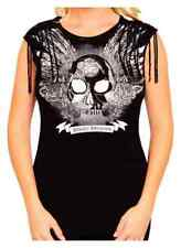 Harley-Davidson Women's Embellished Onyx Winged Skull Sleeveless Top, Black