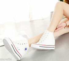 2016 Womens Hidden Wedge Canvas High-Top Lace Up Platform Sneakers Trainers Shoe