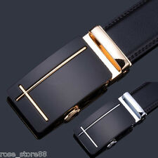 HOT Genuine Leather Men Gold Silver Automatic Buckle Waist Strap Belts Waistband