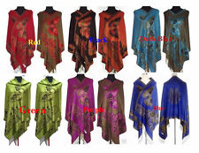 Beautiful New Chinese Lady Double-Side Butterfly Pashmina Scarf Wrap Shawl Cape