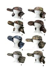 Outdoor Wide Brim Camo Neck Flap Hat UV Protection Boonie Cap Camping Fishing