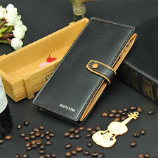 Men's Leather Bifold ID Card Holder Long Wallet Purse Checkbook Clutch US Stock