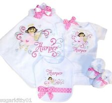 Personalized Baby Girl Angel Blanket, Onezee, Bib, Booties, HB & Bow Free Ship