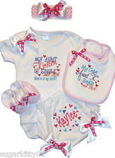 "Personalized Baby Girl Onezee,Bib, Booties, Bloomer, HB & Bow ""So Hot""  Free Shp"
