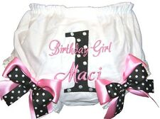 Personalized 1st Birthday Baby Girl Diaper Cover Black & Pink -Blk Dots